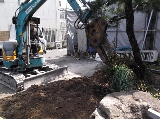 建物前面にある植栽を撤去